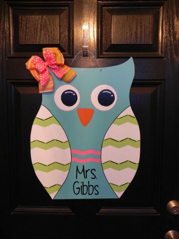Items Similar To Wooden Owl Door Hanger On Etsy