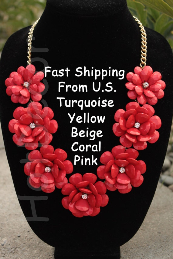 Necklace Red Flower Red Statement Necklace Silver