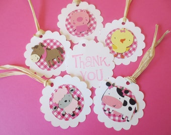 12 Girl Farm or Barnyard Animal Themed Favor Tags