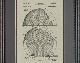 Geodesic Dome Patent Artwork Engineer Gift F2235