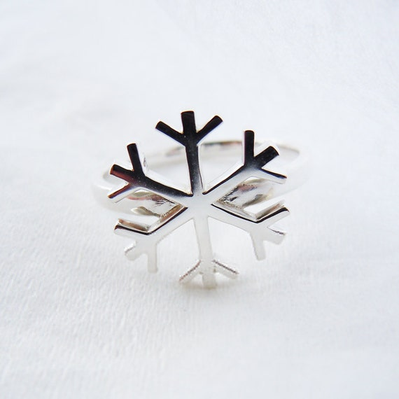 Solid Sterling Silver SNOWFLAKE Ring All Sizes
