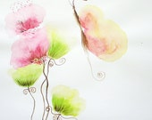 Flowers meeting Butterfly- watercolour mauve pink green painting - EcoshopbyT