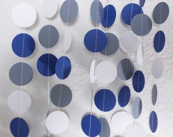Party Garland Navy Gray & White,  Decor Table Decoration 12' Circles