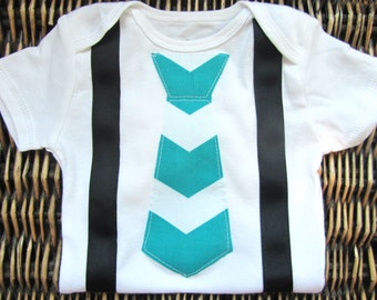 Baby Boy Clothes - Baby Boy Tie and Suspenders Outfit- Blue Chevron Tie With Black Suspenders - Coming Home Outfit