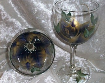 3-Dimension,Poinsettia Wine glasses, set of 4