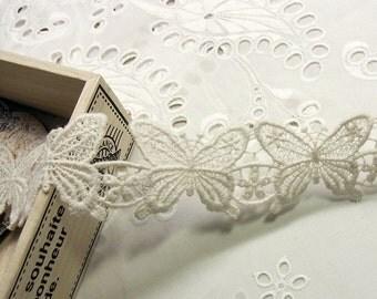 1 Yard Vintage Style Cotton Crochet Lace Trim Butterfly Flower #003