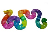 Educational Childrens Alphabet Snake Wooden 3d Puzzle Waldorf Puzzle