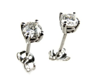 Baby Diamond Stud Earrings, White Gold 14K Earrings