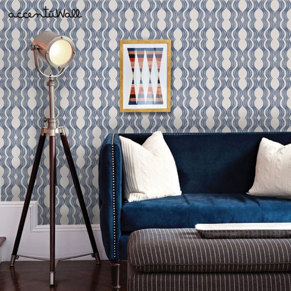 Valentine 39 s sale wave navy peel stick fabric by accentuwall for Wallpaper for walls for sale