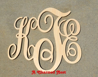 22 x 24 inch Wooden Monogram Letters. Great for weddings, birthdays, gifts, nursery and home decor, Modern Monogram, Large Wooden Monogram