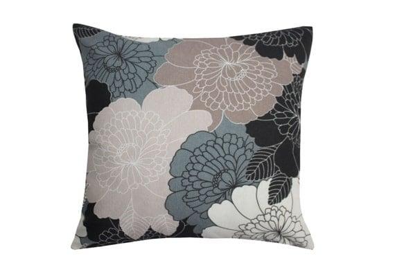 Dark Gray Decorative Pillow : Flowers print Beige Ecru Dark Gray Decorative Throw Pillow