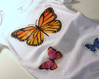 Baby Girls Butterfly Onepiece, Hand Painted Crawler for Babies, Newborn Gifts, Baby Romper with Butterflies, Personalized Gifts for Newborns
