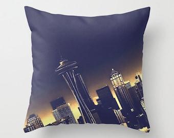 Emerald City Pillow Cover, Seattle Skyline, Space Needle, Home Decor, Photo Pillow, Throw Pillow, 16x16, 18x18, 20x20