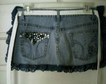 CLOSE OUT - FREE Shipping -Teens/Adults Recyled Blue Jean Apron-Lace Edged, Sequined Pockets
