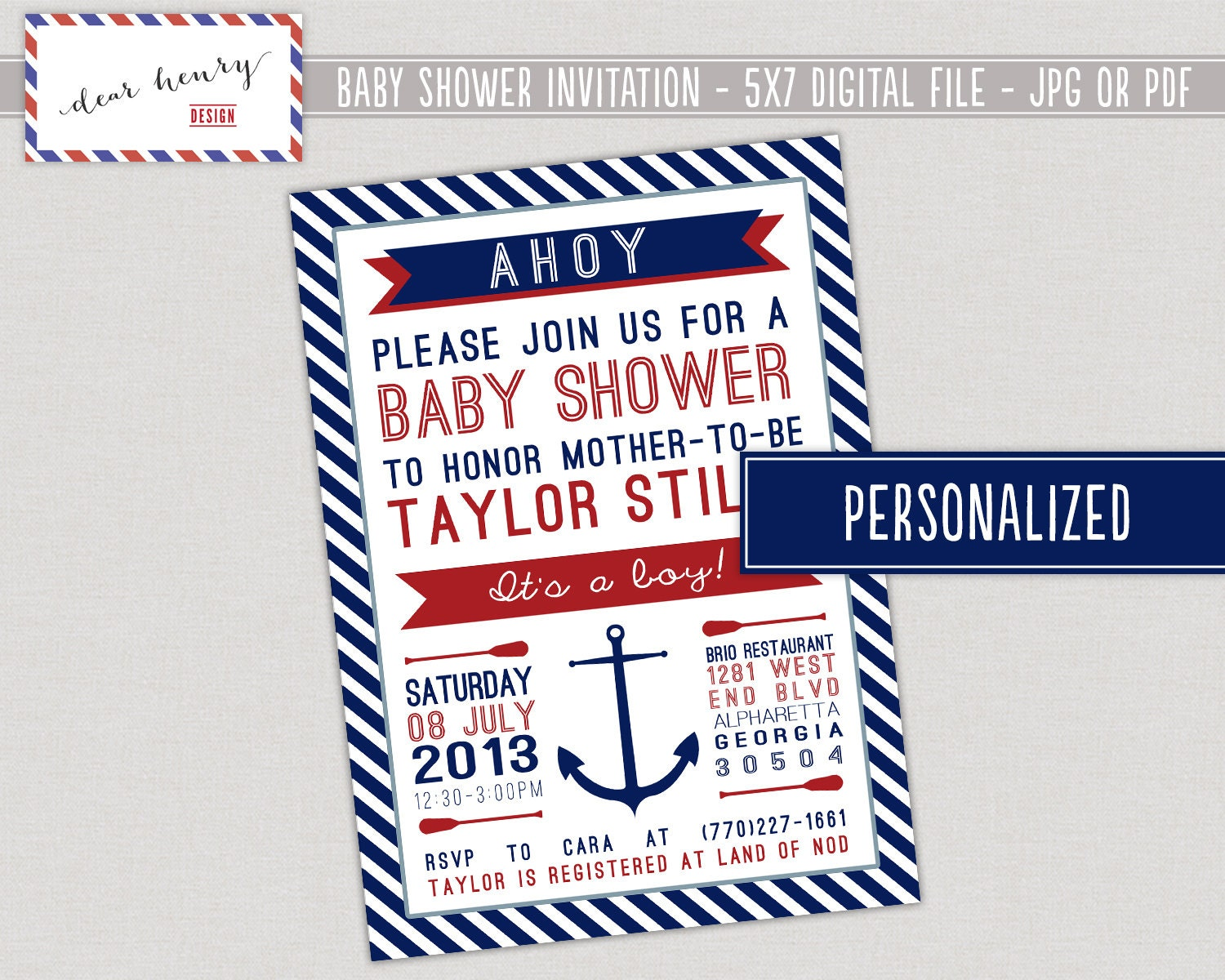 nautical baby shower invitation ahoy it 39 s a boy nautical