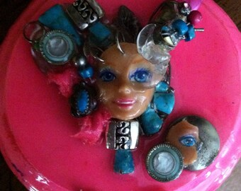 Temple of the Goddess altered Barbie assemblage