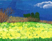 "ACEO Original Painting ACEO ORIGINAL ""Yellow Meadow"" - original artwork acrylic painting  aceo Landscape"