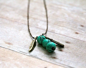 Boho bead necklace. Boho Pendant. Hippie necklace. Turquoise bead pendant