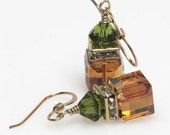 Swarovski Crystal Earrings, Fall, Autumn Earrings, Copper Crystal, Olivine, Green, Cubes, Dangle Earrings, Elandra Designs, Jewellery - ElandraDesigns