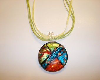 Glass Pendant on Ribbon and Cord Necklace