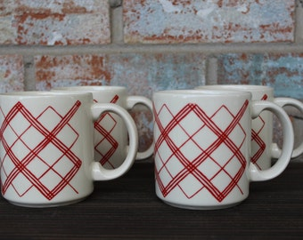 Set of 4 Red Argyle and Cream Coffee Mugs-made in America