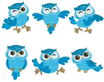 blue owl clip art digital clipart -  Owl graphics - owl digital clip art- Personal and Commercial Use