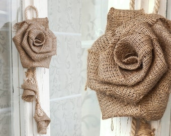 Set of 2 - Large Burlap Rose / Handmade Burlap Flower