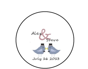 Personalized Wedding Cross Stitch Pattern, Gay Wedding, Bird Groom and Groom, Your Names and Date