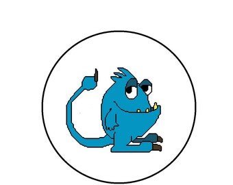 Cute Blue Monster, Counted Cross Stitch Pattern - PDF Download, Little Boy's Room Decor