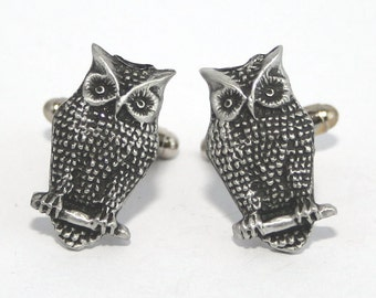 Owl Bird Cufflinks in Fine English Pewter, British Made, Gift Boxed (H)