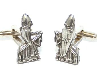 Lewis Chessmen Knight Cufflinks, English Pewter, Handmade Gift Boxed, (wa)