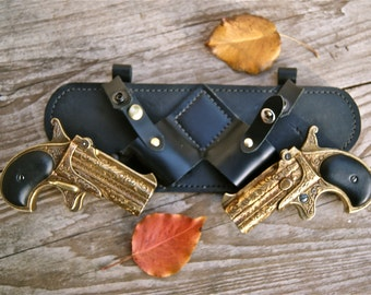 Steampunk Dual Replica Derringer Leather Holster