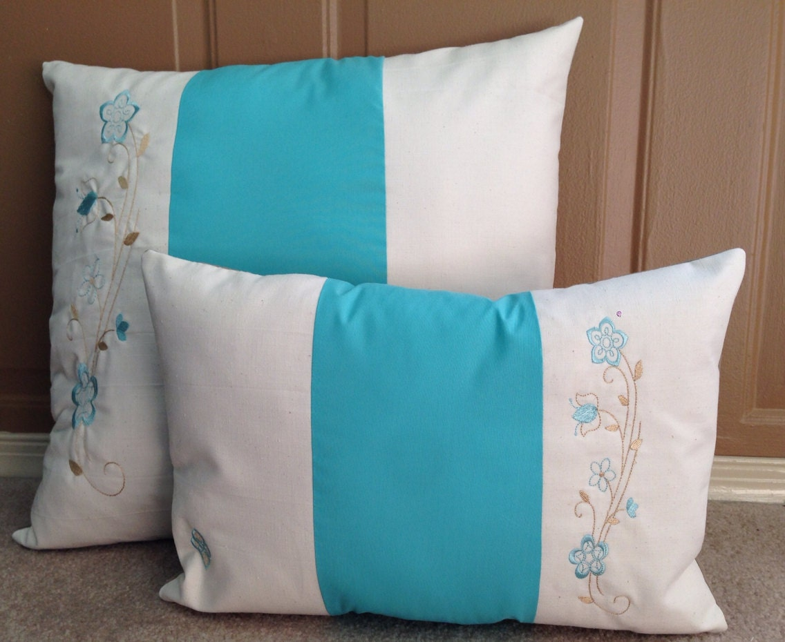 Teal/aqua Cream And Brown Throw Pillow Set By Fashioned4You2