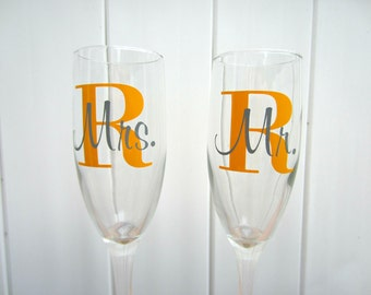 Bride and Groom Champagne Flutes, Toasting Flute Set