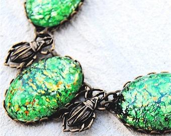 Bug Necklace Lime Green Opal Beetle Statement Necklace Vintage Glass Opal Necklace Mashugana