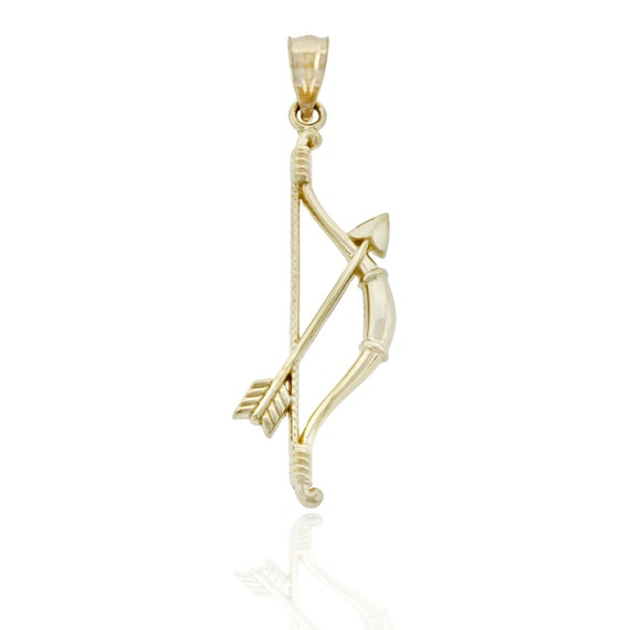 Items similar to Gold Bow and Arrow Charm, 10K Solid Gold ... Gold Bow And Arrow