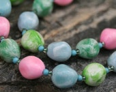 Vintage double strand multi color chunky bead necklace in blue, green & pink