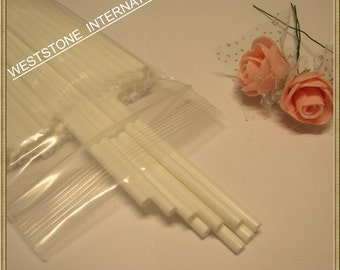 "50pcs 6"" x 5/32"" Plastic  Lollipop Sticks for Cake Pops - White"