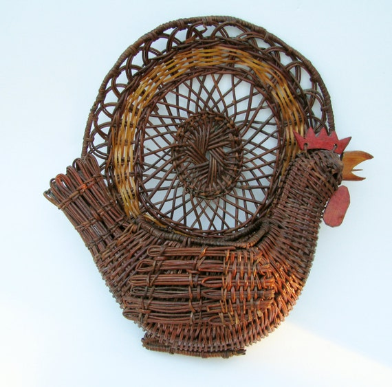Items similar to rooster basket wall hanging decor flower - Decorative basket wall art ...