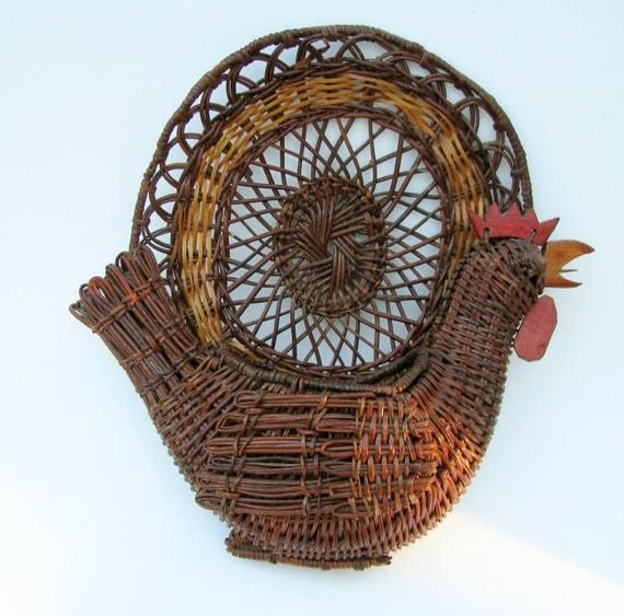 items similar to rooster basket wall hanging decor flower basket mail basket on etsy. Black Bedroom Furniture Sets. Home Design Ideas