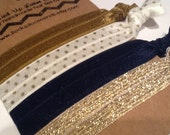 NAVY, IVORY GOLD Dot and Copper Metallic Hair Ties