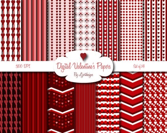 Digital Valentine's Papers, Red Papers, Scrapbooking, Crafts, Supplies, Hearts, Chevron, Patterned, Digital Download, Love, Red, White