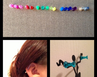 Push pin earrings
