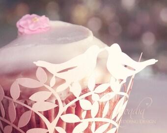Love Birds Silhouette Wedding Cupcake Wrapper 10 pcs, DIY Wedding Decoration details, Party Cupcake Decor, Cupcake Decor