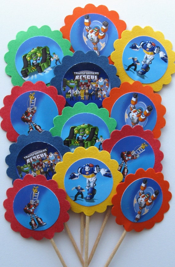 Items similar to Transformers Rescue Bots Cupcake ToppersParty Picks