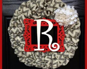 Chevron Burlap Wreath with Initialand Burlap Hydrangea-Front Door Wreath-Fall Wreath-Monogrammed Wreath