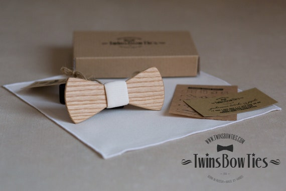 Wooden bow tie Platon Classic + pocket square. Personal engraving wood bow ties. Men Accessories. 100% hand made. Best personal gift.