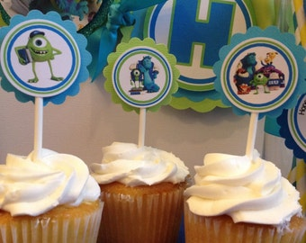 Monster University Cupcake Toppers, Monsters University tags, Monsters University Banner