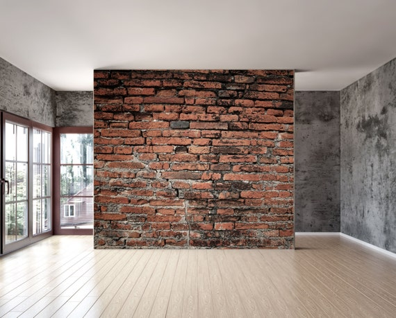 Items similar to old brick wall mural repositionable peel for Brick wall decal mural