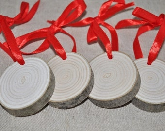 4 Rondelles en bois - ruban